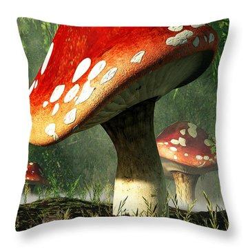 Mystic Mushroom Throw Pillow by Daniel Eskridge