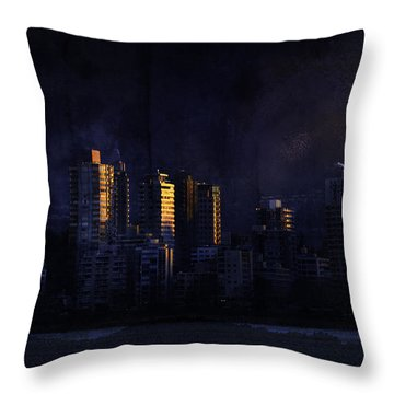 Mystic Orange Glowing Sunrise On Vancouver   Throw Pillow