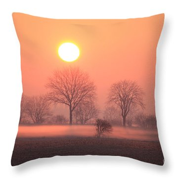 Mystic Red Sunrise Throw Pillow