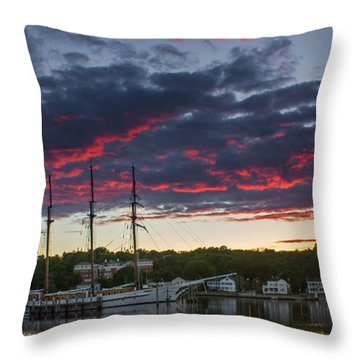 Mystic River Burning Sunset Throw Pillow