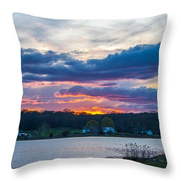 Mystic River Sunset Throw Pillow