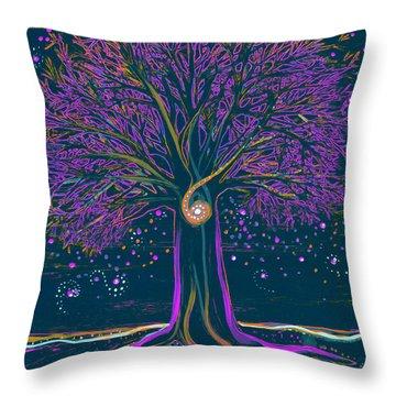 Mystic Spiral Tree 1 Purple Throw Pillow