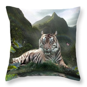 Mystic Tigress Throw Pillow by Alixandra Mullins