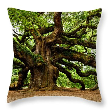 Throw Pillow featuring the photograph Mystical Angel Oak Tree by Louis Dallara