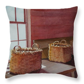 Throw Pillow featuring the painting Mystical Baskets by Judy Mercer