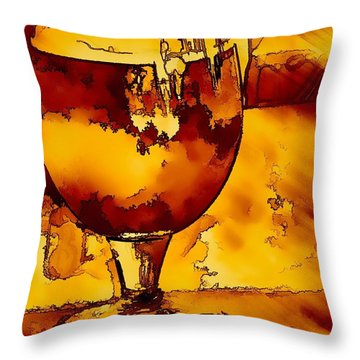 Mystical Beer Throw Pillow by Pamela Blizzard