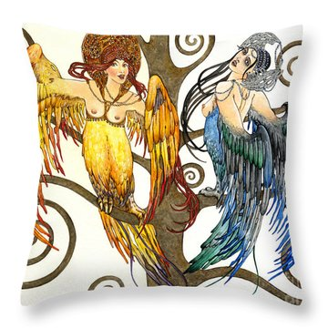 Mythological Birds-women Alconost And Sirin- Elena Yakubovich  Throw Pillow