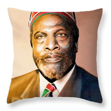 Mzee Jomo Kenyatta Throw Pillow by Anthony Mwangi