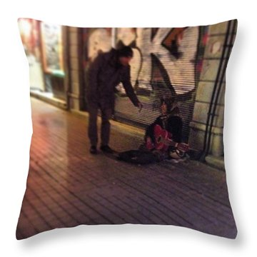 Musician Woman Throw Pillow by Korcan Uster