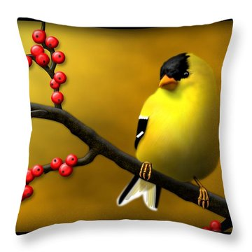 N. American Male Goldfinch Throw Pillow