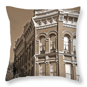 N. D. Hill Building. Port Townsend Historic District  Throw Pillow by Connie Fox