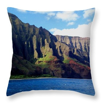 Na Pali Coast On Kauai Throw Pillow by Amy McDaniel