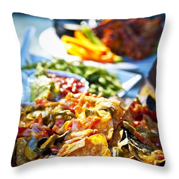 Nacho Plate And Appetizers Throw Pillow by Elena Elisseeva