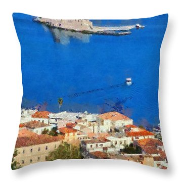 Nafplio And Bourtzi Fortress Throw Pillow