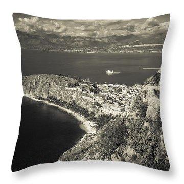 Nafplio Peninsula Sepia Throw Pillow