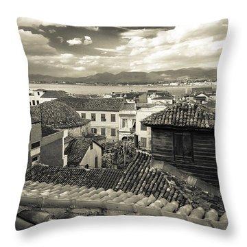 Nafplio Rooftops Sepia Throw Pillow