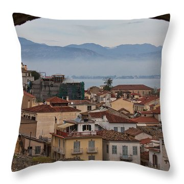 Nafplio Throw Pillow by Shirley Mitchell