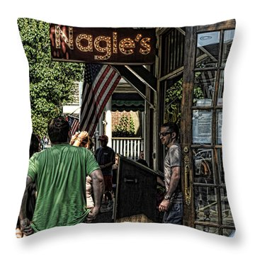 Nagle's Apothecary Cafe Throw Pillow
