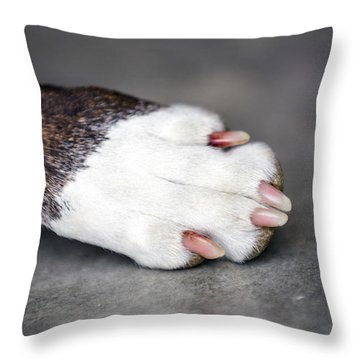 Nail Biter Throw Pillow by Sennie Pierson