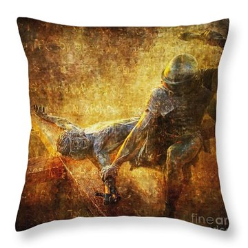 Nailed To The Cross Via Dolorosa 11 Throw Pillow by Lianne Schneider