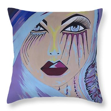 Naira - Contemporary Woman Painting Throw Pillow