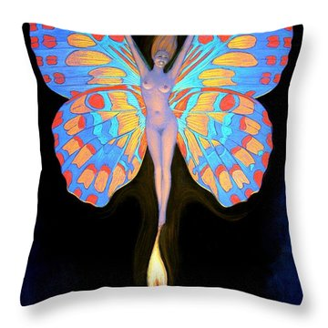Naked Butterfly Lady Transformation Throw Pillow