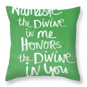 Namaste Card Throw Pillow