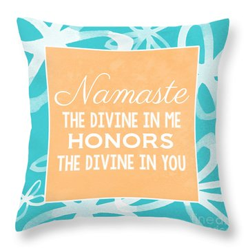 Namaste Watercolor Flowers- Blue Throw Pillow by Linda Woods