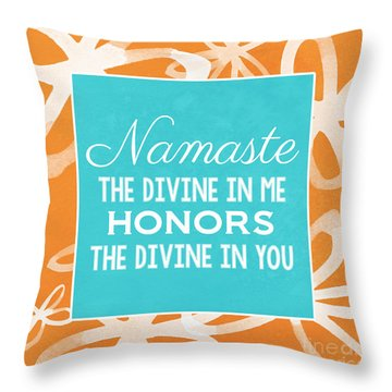 Namaste Watercolor Flowers Throw Pillow by Linda Woods