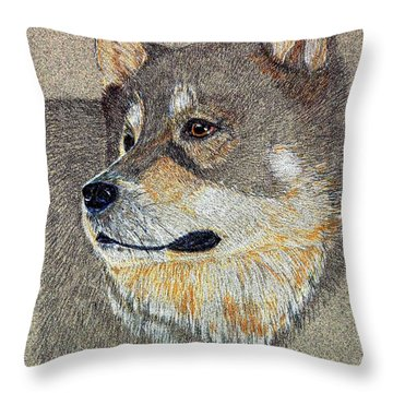 Throw Pillow featuring the drawing Nanook by Stephanie Grant