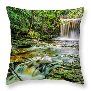 Nant Mill Waterfall Throw Pillow by Adrian Evans