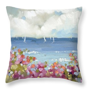 Nantucket Sea Roses Throw Pillow