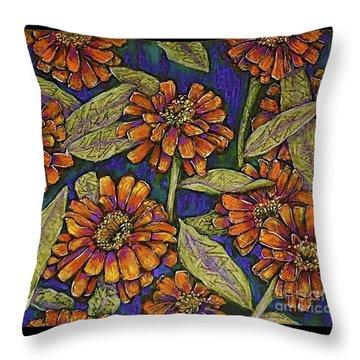 Nazinnias Throw Pillow by Linda Simon