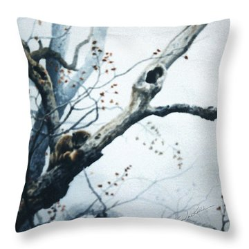 Nap In The Mist Throw Pillow by Hanne Lore Koehler