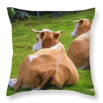 Nap Time Throw Pillow by Ayse Deniz