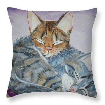 Throw Pillow featuring the painting Nap Time by Thomas J Herring