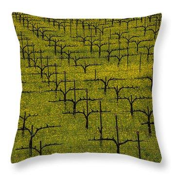 Napa Mustard Grass Throw Pillow by Garry Gay