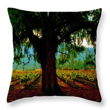 Napa Valley Winery Roadside Throw Pillow