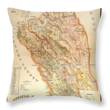 Napa Valley Map 1895 Throw Pillow