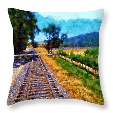 Napa Valley Tracks Throw Pillow by Kaylee Mason