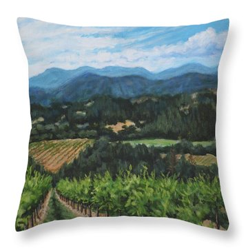 Throw Pillow featuring the painting Napa Valley Vineyard by Penny Birch-Williams