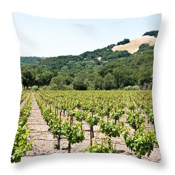 Napa Vineyard With Hills Throw Pillow