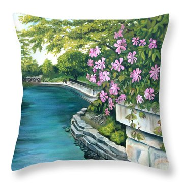 Throw Pillow featuring the painting Naperville Riverwalk by Debbie Hart