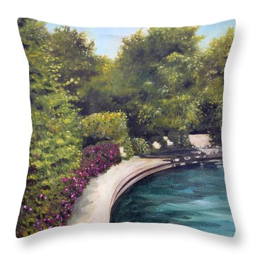Throw Pillow featuring the painting Naperville Riverwalk II by Debbie Hart