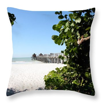Naples Pier View Throw Pillow