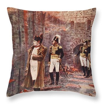 Napoleon Watching The Fire Of Moscow Throw Pillow by Nikolai Stepanovich Vereshchagin