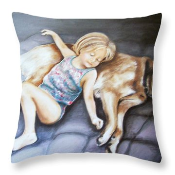 Napping Together Throw Pillow