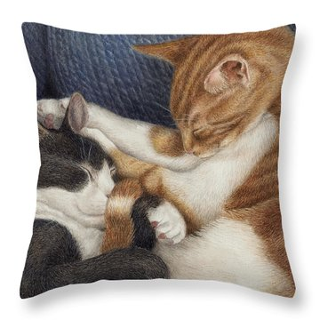 Throw Pillow featuring the painting Naptime by Pat Erickson