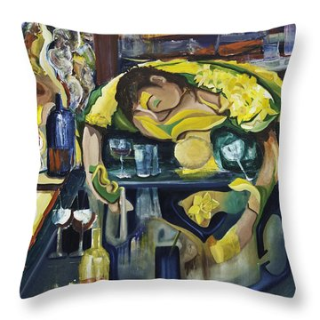 Narcisisstic Wine Bar Experience - After Caravaggio Throw Pillow