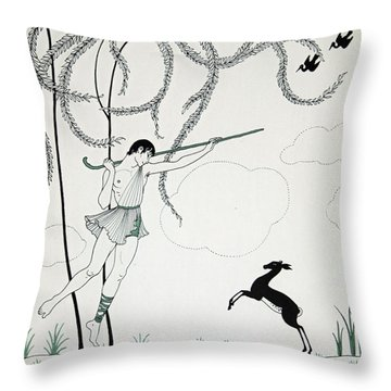 Narcisse Throw Pillow by Georges Barbier